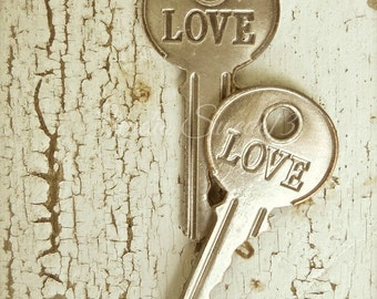 "Key Photography, Shabby Cottage Chic Key Art, Romantic Rustic Photo, Wedding Love Beige Print, Weathered Farmhouse Decor- ""The Key To Love"""