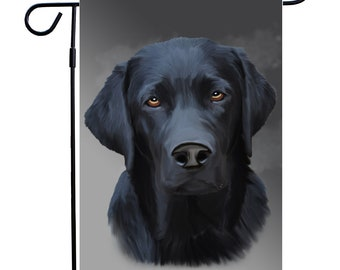 Black Labrador Dog Portrait Garden Flag