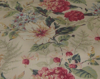 Peonies and Hibiscus Vintage Fabric