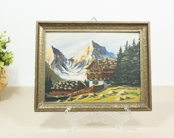 Vintage oil painting of Bavarian mountain scenery