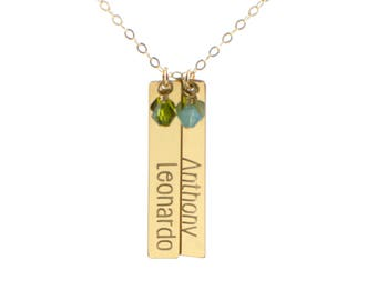 Children name necklace - name jewelry - vertical name bar necklace - engraved jewelry - long bar necklace - personalized jewelry for mom