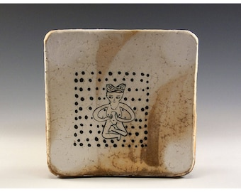 Exquisite Wood Fired Square Plate by Jenny Mendes - Nude