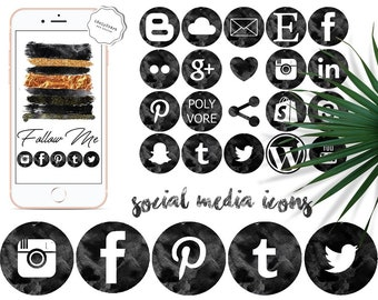 Black watercolor social media icons -  Black social icons - Modern watercolor - Blogger Clipart - Website icons - Website design pack