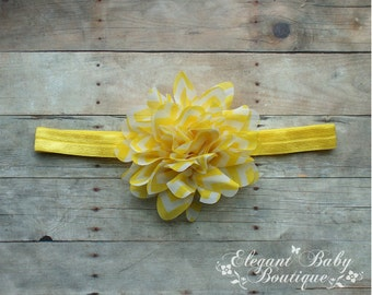 Yellow and White Chevron Chiffon Flower Headband