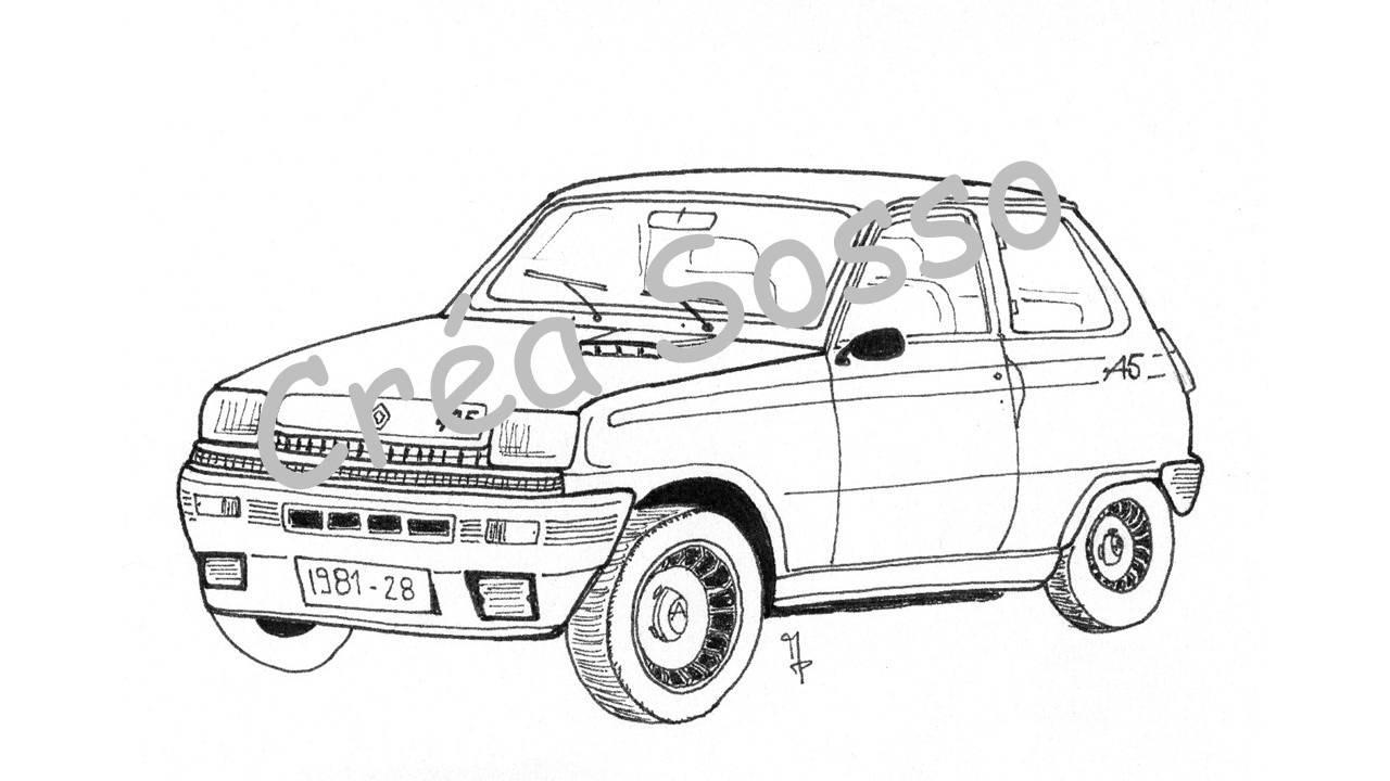 Porte-clès Dessin Voiture Ancienne Renault 5 Alpine