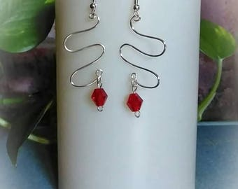 Geometric Silver Unique Dangle Drop Earrings with Red Crystal
