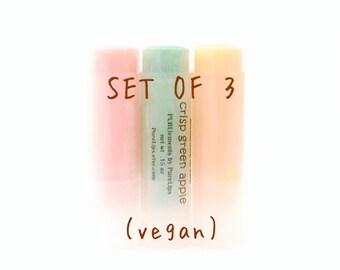 3 for 10 Bucks Vegan Lip Balms. You Choose over 30 Flavors. Natural Lip Balms Deal.