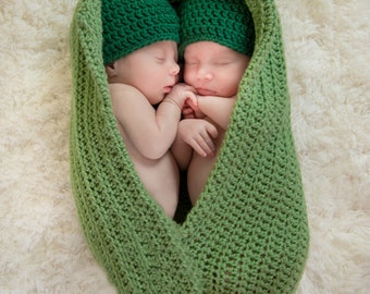 Newborn twin peapod prop, Peas in a pod, Twin photo prop, Newborn Twins Set, Baby Peas, Newborn photo prop