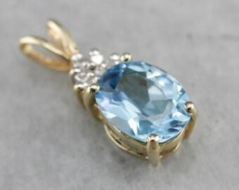 Blue Topaz and Diamond Pendant, Birthstone Pendant, Something Blue, Anniversary Gift PDMR5LC5