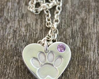 Silver pawprint gemstone pendant, gemstone animal pendant, silver cat paw, silver dog paw, animal lover pendant, animal lover necklace
