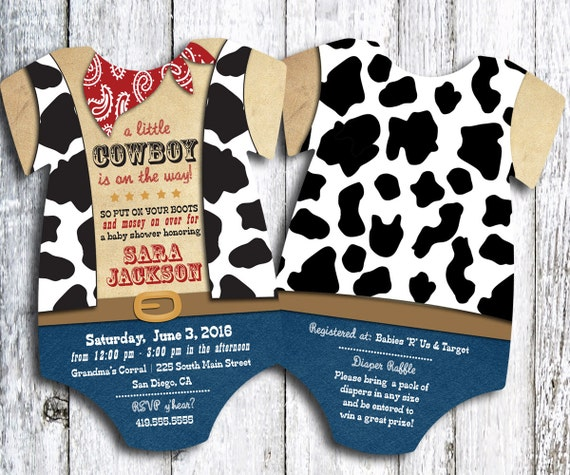 Cowboy Baby Shower Invitation Western Shower Invite Cow