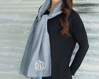 SALE Chambray Personalized Scarf – Monogrammed Winter Scarf Monogram Scarf Large Warm Scarves Gift for Her Christmas gift for her