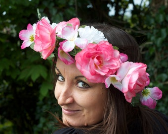 Beautiful Handmade One Of A Kind Fairy Festival Flower Fantasy Garland In Pink Roses