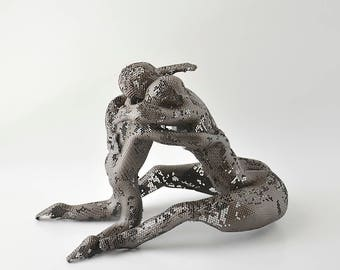 Contemporary art, metal sculpture, Mother and son hug, Unique home decor, modern art, abstract sculpture