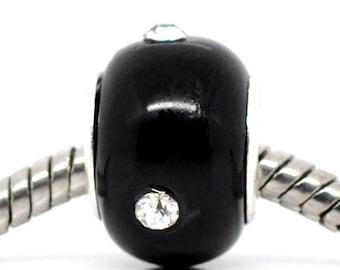 Lampwork Glass Bead black and rhinestone 14mm x 10mm