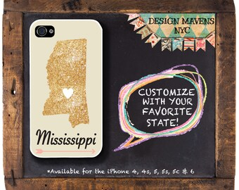Mississippi iPhone Case, Personalized State Love iPhone Case, iPhone 8, 8 Plus, iPhone 7, 7 Plus, iPhone 6, 6s, 6 Plus, SE, iPhone 5, 5s, 5c