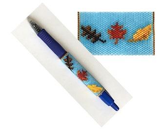 Autumn Leaves Beaded Pen Wrap Pattern