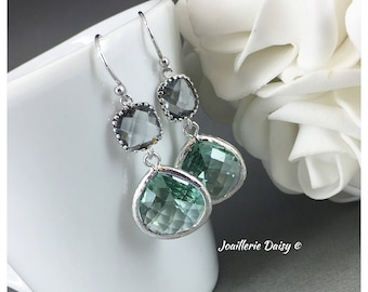 Bridesmaid Earrings Teal Earrings Grey and Green Earrings Maid of Honor Jewelry Mother of Groom Gift Mother of Bride Gift Teal Wedding