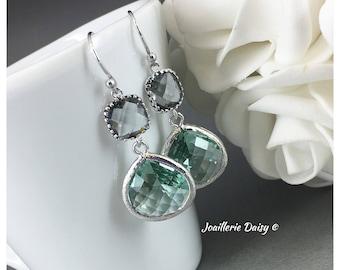 Bridesmaid Earrings Teal Earrings Grey and Green Earrings Maid of Honor Jewelry Mother of Groom Gift Mother of Bride Gift Teal Wedding