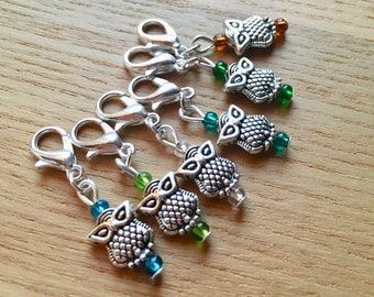 Snag Free Mulitcolour Owl Crochet Stitch Markers Set of 6 - Crochet Tools - Gift for Crocheters - Cute Stitch Markers, Gift for Nature Lover