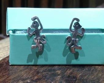 Whimsical 925 sterling Dancing Monkey earrings