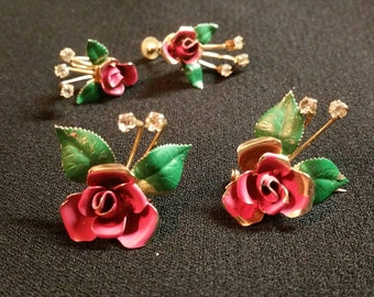 Vintage Rose Earrings and Scatter Pins