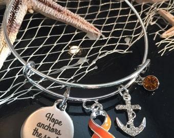 Hope Anchors the Soul Bracelet - Orange Ribbon Charm - Leukaemia, Leukemia, Kidney Cancer, Multiple Sclerosis Awareness, Prader-Willi Gift