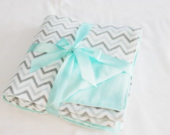 Reversible Grey and Aqua Chevron Flannel Baby Blanket - double thickness blanket