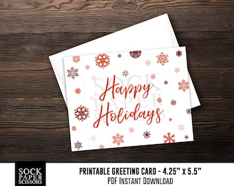 Printable Card, Christmas Card PDF, Red Snowflake Card, DIY Card Kit, Happy Holidays Card with diy Envelope, Greeting Card, SKU RGC129RED