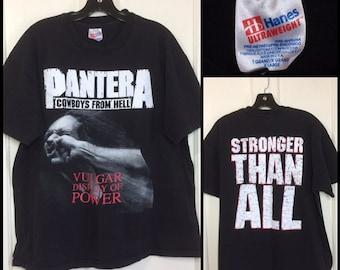 1990s 1993 Pantera heavy metal grunge rock t-shirt size XL 23x26 Cowboys from Hell, Vulgar Display of Power