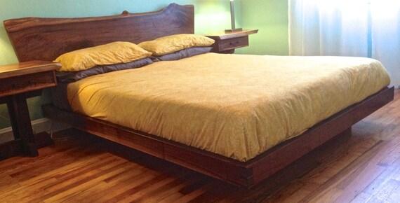 Roma Walnut Contemporary Bed: Live Edge Walnut Platform Bed