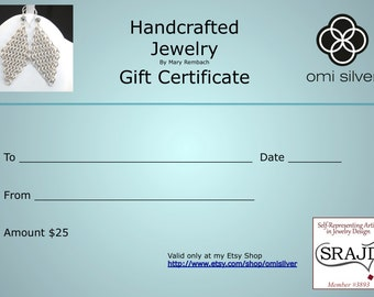 Twenty Five Dollar Gift Certificate