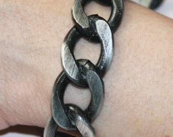 5 ft Antique silver  chain, Aluminum Chunky heavy chain Curb open link chain  21x27mm, large chunky chain aluminum chain