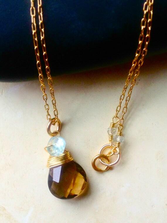 Smoky Topaz Necklace  aquamarine  topaz gemstone  march birthstone  minimalist jewelry  November Birthstone