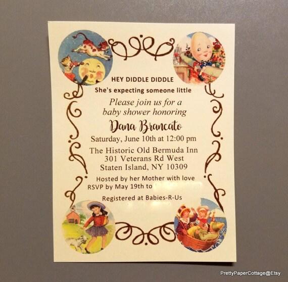 Nursery rhyme invitations mother goose baby shower birthday filmwisefo Images