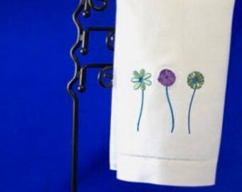 Kitchen Towel Machine Embroidery on White Linen Towel. Minimalist. Tea Towel. Spring flowers.