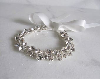 Rhinestone Crystal Bridal Cuff,Wedding Accessories, Bracelet,Crystal Bridal Bracelet,#B8