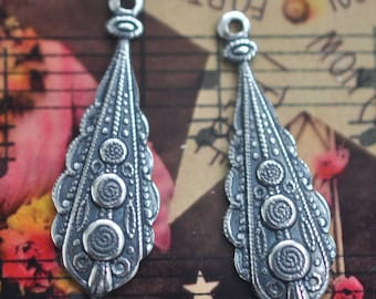 TWO Boho Style Brass Pendants, Brass Stampings, Earring pendants, Sterling Silver Ox, Jewelry and Craft Supplies