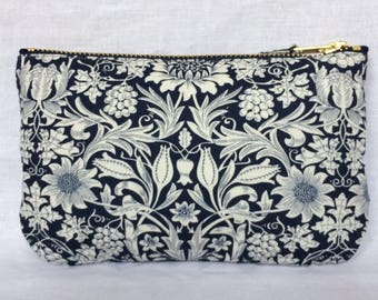 Liberty Purse in cotton fabric 'Mortimer' navy & ivory, make up bag, clutch bag, pouch or wristlet. liberty of london.