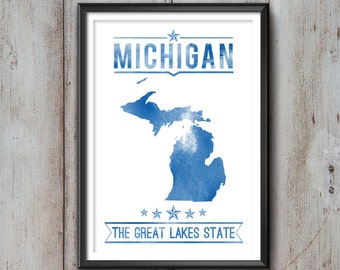 MICHIGAN State Typography Print, Typography Poster, Michigan Poster, Michigan Art, Michigan Gift, Michigan Decor, Michigan Print, Michigan