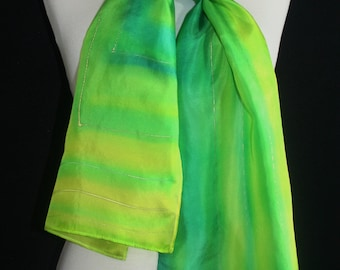 Silk Scarf Handpainted. Green, Yellow Hand Painted Silk Scarf FRESH MORNING, size 8x54. Handmade Anniversary, Mother Gift. Gift-Wrapped