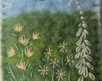 Handmade Wet-Felted Floral Brooch.