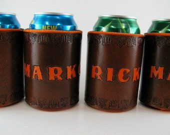 Leather Deer Hunting Can Holder Personalized Made to Order Custom Leather Can Cooler Hand Tooled Leather Insulated Beverage Holder Buck Deer