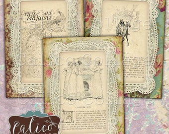 Jane Austen, Printable Ephemera, 2.5x3.5 ATC Size, Journal Cards, Scrapbooking, Junk Journal Cards, Digital Download, Printable Tags