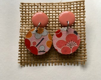 60s Inspired Pink Round Drop Earrings Ethical Handmade