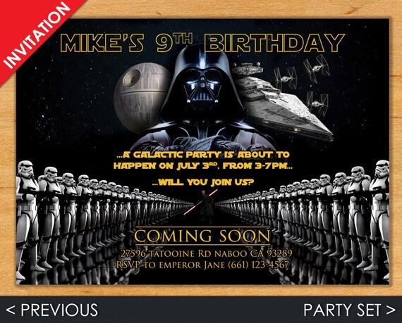 Star Wars Invitation - Star Wars Invite - Star Wars - Darth Vader Invite - Star Wars Party Set - Darth Vader Party Set - Darth Vader
