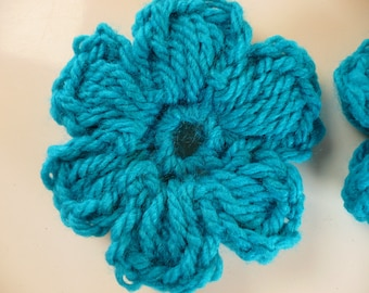 crocheted blue flower, sewing or craft, applique crochet