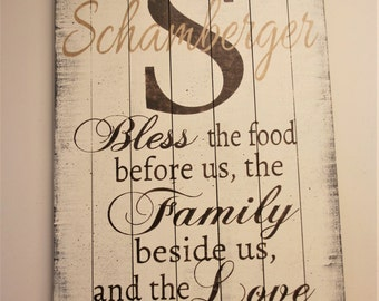 Bless The Food Pallet Sign Wood Kitchen Dining Room Wall Decor