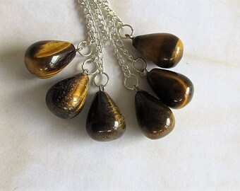 1 x Reiki Tigers Eye pendulum bob-Tigers Eye gemstone pendant-Tigers Eye necklace-scrying-healing-Chakras-divination-Wiccan-instructions