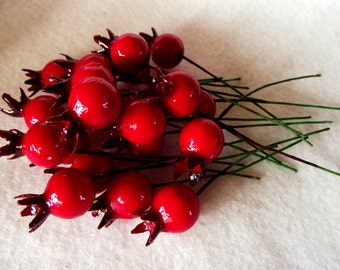 Deep Red Cranberry Glass Fruit Picks in a Package of 20.